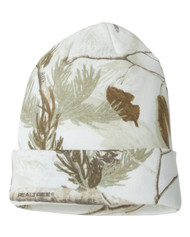 Realtree 12 Inch Knit Outdoor Camouflage Beanie White Camo Cap