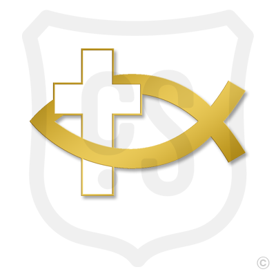 Fish Symbol - White Cross