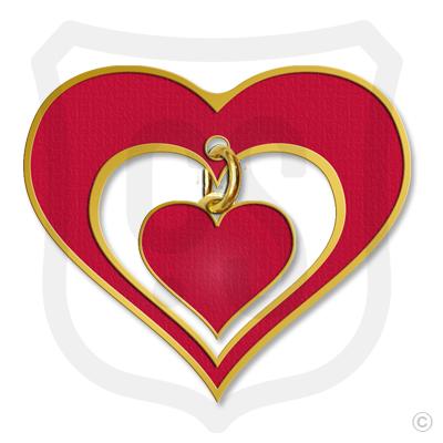 Heart Pin with Heart Dangle