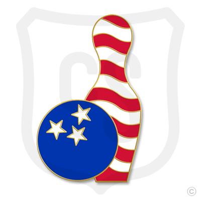 Patriotic Bowling Ball & Pin