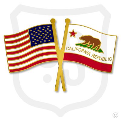USA & California Flags
