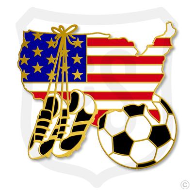 USA Flag / Soccer Shoe & Ball