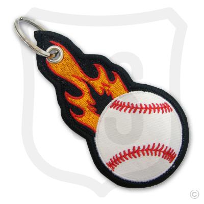 Flaming Baseball Bag Tag