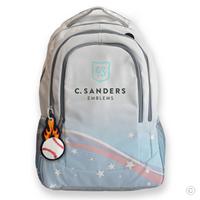 Flaming Baseball Bag Tag on Backpack