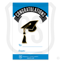 Sample of our Graduation cap pin w/ tassel dangle on backer card