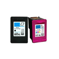 2 Packs Remanufactured Black & Color Cc641wn Cc644wn Ink Cartridge for Hp 60xl Hp 60