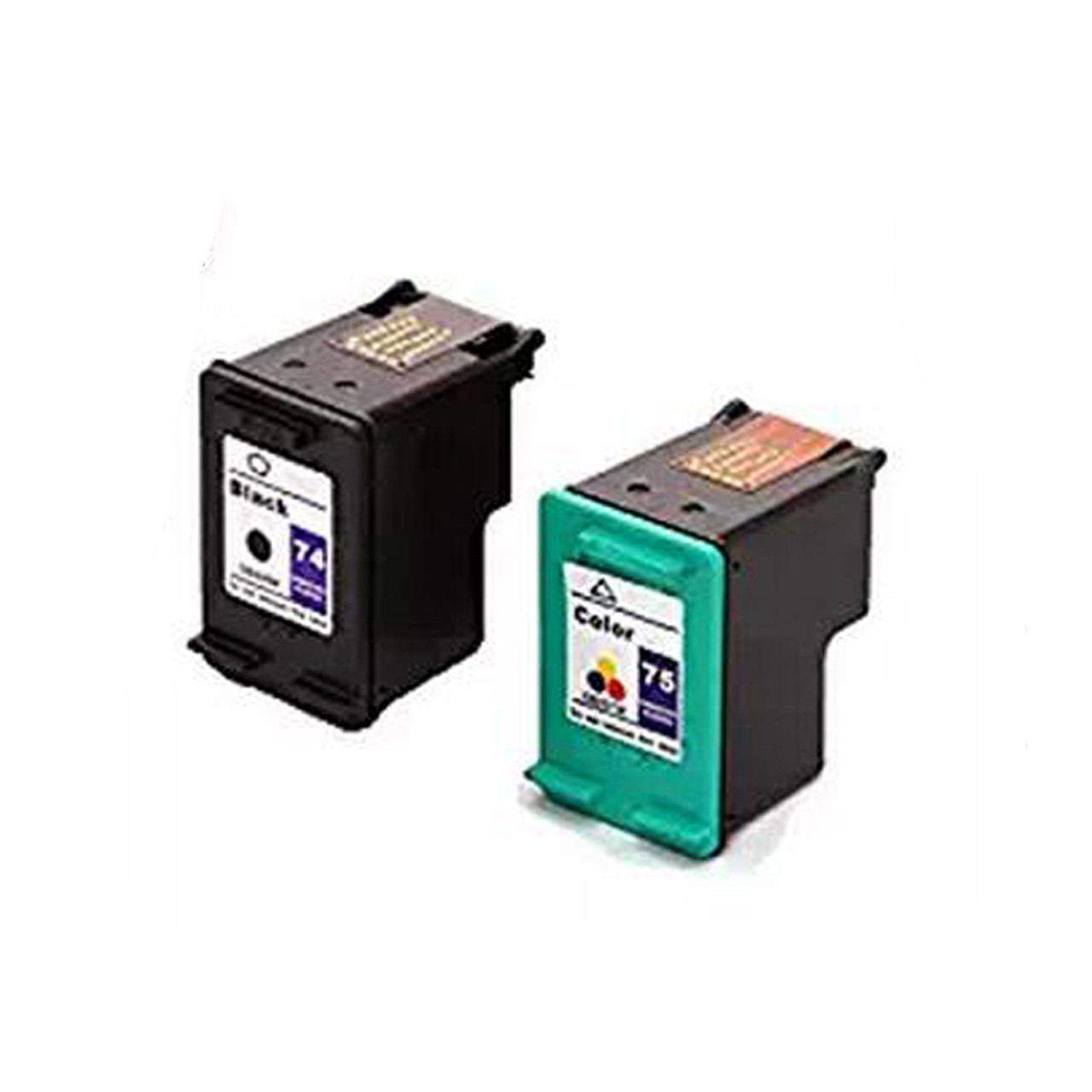 Generic Remanufactured Ink Cartridge Replacement for HP HP 74 75 Black, Color , 2-Pack