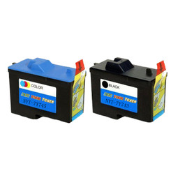 2 Pack (1 Black +1 Color) Remanufactured (Series 2) DELL 7Y743 Black and 7Y745 Color Ink Cartridges for Dell A940 and A960 Printers
