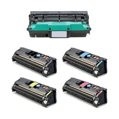 1Set+1DR-New Compatilbe HP C9700A C9701A C9702A C9703A Toner and C9704A Drum Cartridge for Color LaserJet 1500 BK 5000 C M Y 4000 Drum 20000 -Black Cyan Magenta Yellow