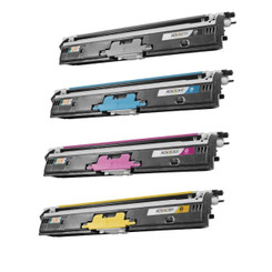 4 Pack Konica Minolta Black Cyan Magenta Yellow Remanufactured QMS 1600 BK C M Y Toner Cartridge (A0V301F A0V306F A0V30CF A0V30HF) For MagiColor 1600W