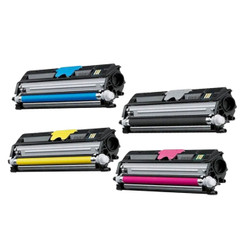 4 Pack Compatible Konica Minolta QMS 1600BK C M Y Toner Cartridge for MagiColor 1600W 1680MF