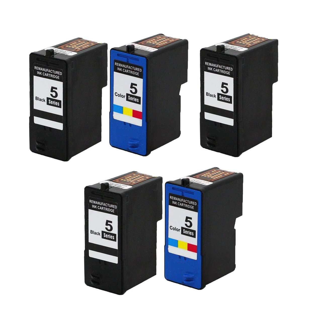 Dell 5 Pack 3 Black 2 Color Series 5 Hi Yield Remanufactured Ink