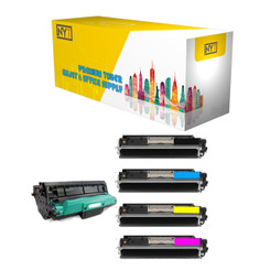 New York Toner Compatible Toner & Drum Cartridge Replacement for HP CE310A CE311A CE312A CE313A CE314A ( Black Cyan Magenta Yellow )- 1Set+1DR