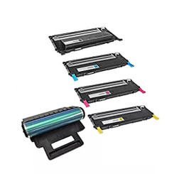 Compatible Replacement for the Samsung CLT-K407S CLT-C407S CLT-Y407S CLT-M407S Toner and CLTR407 Drum Cartridges - 1Set+1Drum, BK 1500 CMY 1000 Drum 24000 Yield