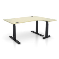 "Adjustable Height 60""x48"" Right Ergonomic Office Desk - Aged Porcelain"