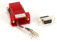 Black Box Modular Adapter Kit DB9F To RJ45F w/ Thumbscrews Red FA4509F-RD