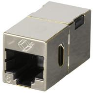 Black Box CAT6 Coupler, Shielded, Straight-Pin, Office Silver, 10-Pack FM608-10PAK