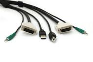 Black Box DVI KVM Cable, USB A-B, 3.5mm Audio 10FT, Secure SKVMCBL-DVI-10