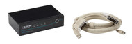 Black Box 2-Port Desktop KVM Switch, DVI-D with Emulated USB KM, w/Cables KV9612A-K