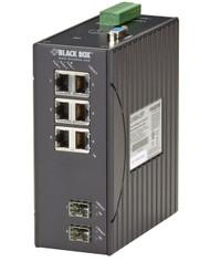 Black Box Hardened Managed Ethernet Switch, (6) 10/100-Mbps, (2) 100-Mbps SF LEH906A-2SFP