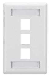 Black Box 3-Port White Single-Gang Keystone Wallplate WP470