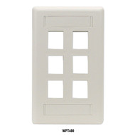 Black Box 6-port Office White Single-Gang Keystone Wallplate WPT480