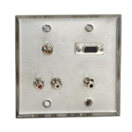 Black Box AV Stainless Wallplate w/ (1) VGA F/F (1) 3.5mm F/F (5) RCA F/F WP820