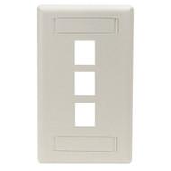 Black Box Wallplate Plastic Single-Gang 3-Port Keystone Office White WP468
