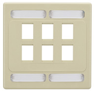 Black Box 6-Port Ivory Double-Gang Wallplate WPC7478