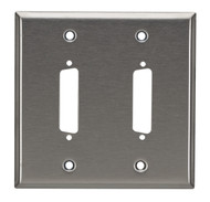 Black Box 2-Port DB25 Double-Gang Stainless Steel Wallplate WP030