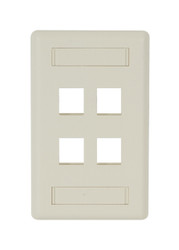 Black Box 4-port Office White Single-Gang Keystone Wallplate WPT474