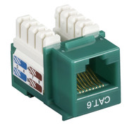 Black Box CAT6 Keystone Jack Unshielded Jack Green 25-Pack CAT6J-GN-25PAK
