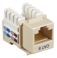 Black Box CAT6 Keystone Jack Unshielded Jack Ivory 25-Pack CAT6J-IV-25PAK