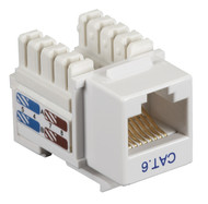 Black Box CAT6 Keystone Jack Unshielded Jack White 25-Pack CAT6J-WH-25PAK