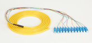 Black Box 3m SC OS2 9-Micron SM Fiber Pigtail 12-Strand OFNR PVC Yellow FOPT50S1-SC-12YL-3