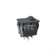 SWITCH SNAP-IN ROCKER DPDT ON-OFF-ON 8A 125VAC SOLDER LUG TERMINALS (nte_54-079)
