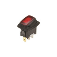 SWITCH WATERPROOF ILLUMINATED ROCKER SPST 16A ON-NONE-OFF RED 110V NEON LAMP .187 QC TERMINALS (nte_54-200W)