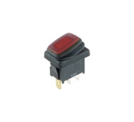 SWITCH WATERPROOF ILLUMINATED ROCKER SPST 16A ON-NONE-OFF RED 12V LED LAMP .187 QC TERMINALS (nte_54-201W)