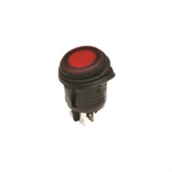 SWITCH ROUND WATERPROOF ILLUMINATED ROCKER DPST 16A ON-NONE-OFF RED 110V NEON LAMP .187 QC TERMINALS (nte_54-205W)