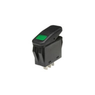 SWITCH WATERPROOF ILLUMINATED ROCKER SPST 20A ON-NONE-OFF GREEN 110V NEON LAMP .250 QC TERMINALS (nte_54-219W)