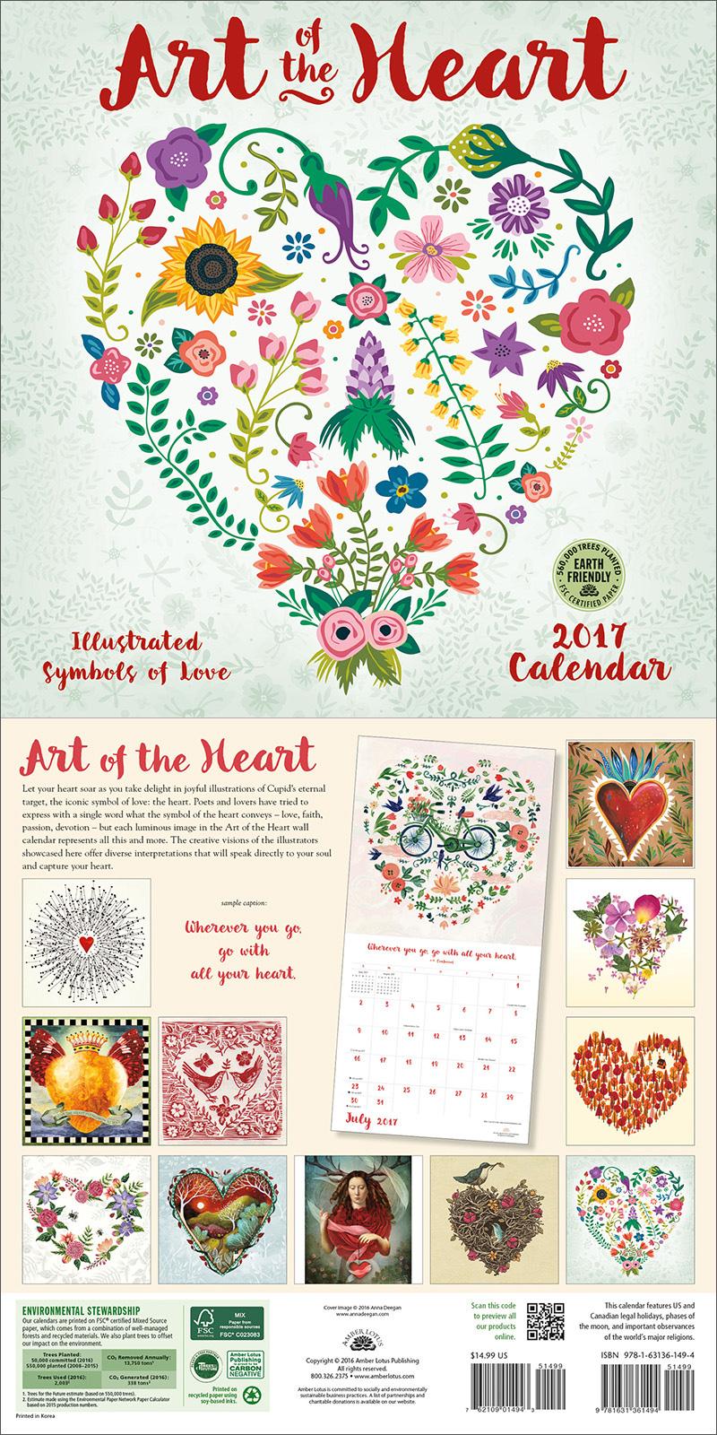 New Calendar Art Of The Heart Illustrated Symbols Of Love