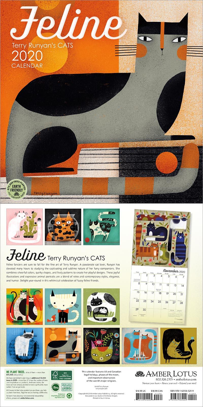 Feline 2020 Wall Calendar