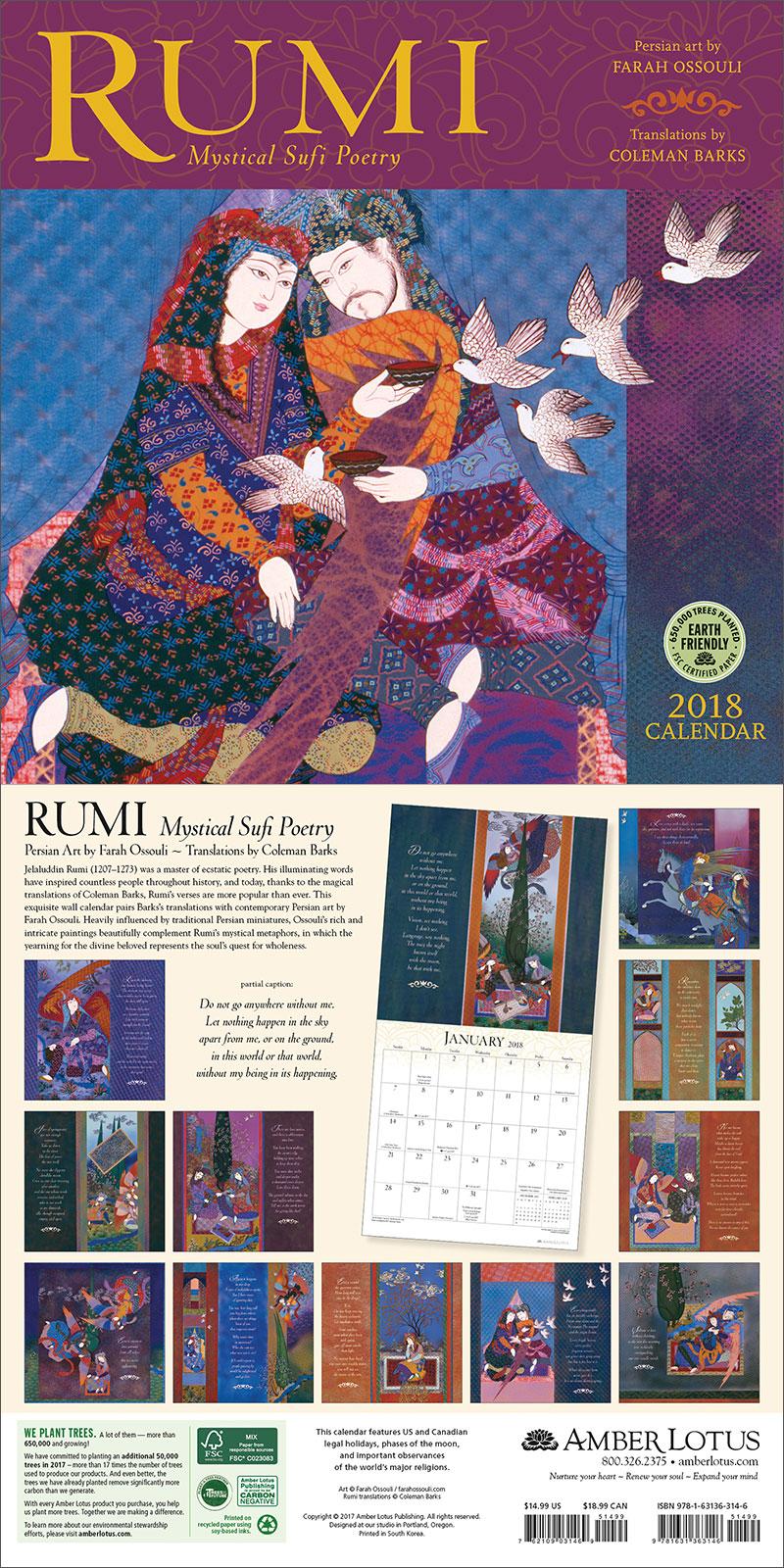 New 2018 Calendar Rumi Mystical Sufi Poetry Persian Art