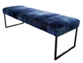 Bridger Bench shown in Bronze forged steel and Blue Shearling