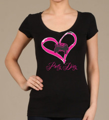 I Heart Trophy Trucks Black V-Neck T Shirt
