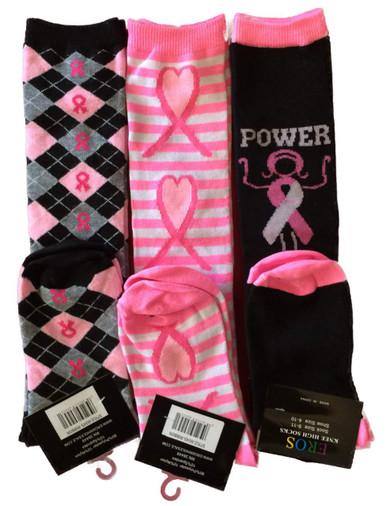 Pink and black socks, pink and black knee highs, breast cancer socks,