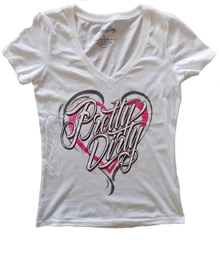 White Pretty Dirty Heart V-Neck