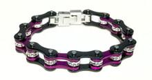 Womens Bike Chain Bracelet Purple and Black