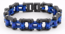 Men's Bike Chain Bracelet Black and Blue