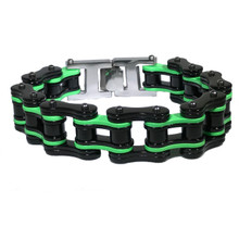 Men's Monster Energy Style Black and Green Bike Chain Bracelet
